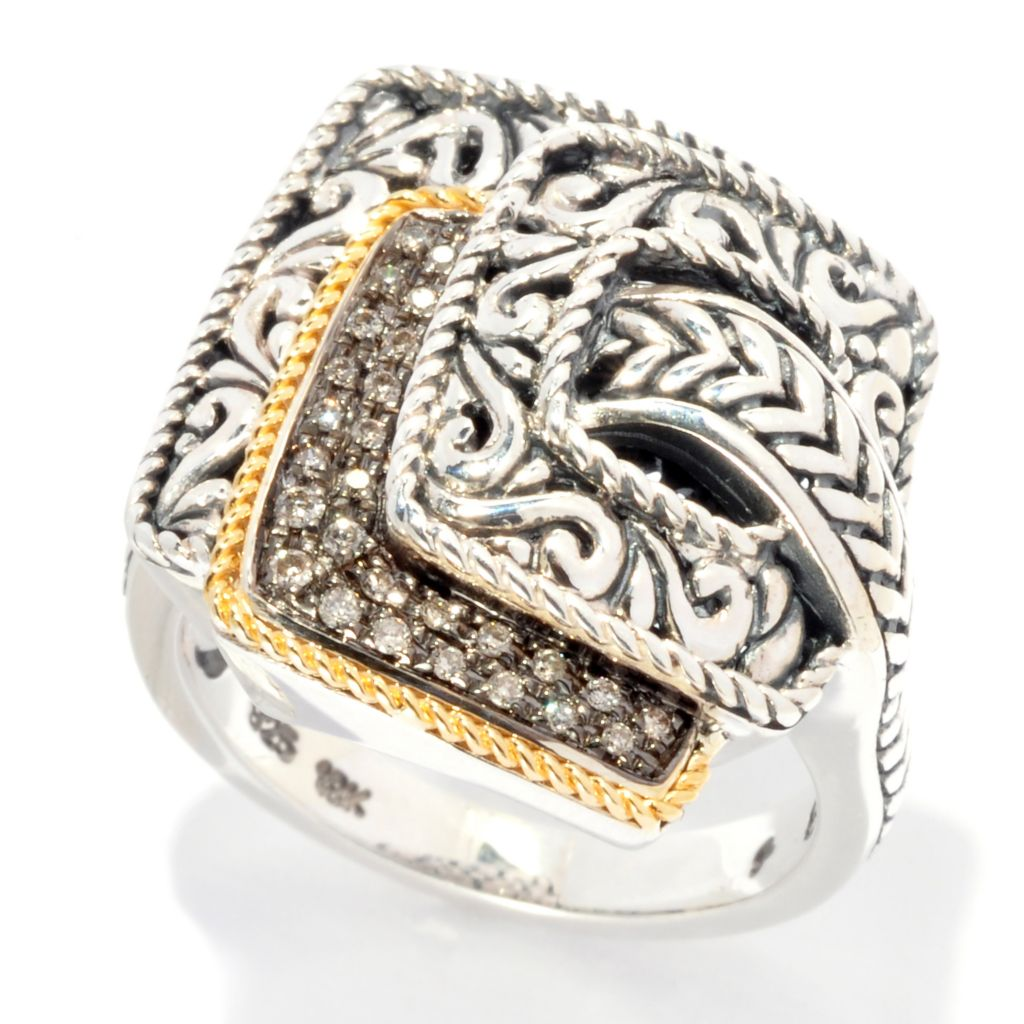 139-044 - Artisan Silver by Samuel B. Two-tone 0.11 ctw Champagne Diamond Overlapping Ring
