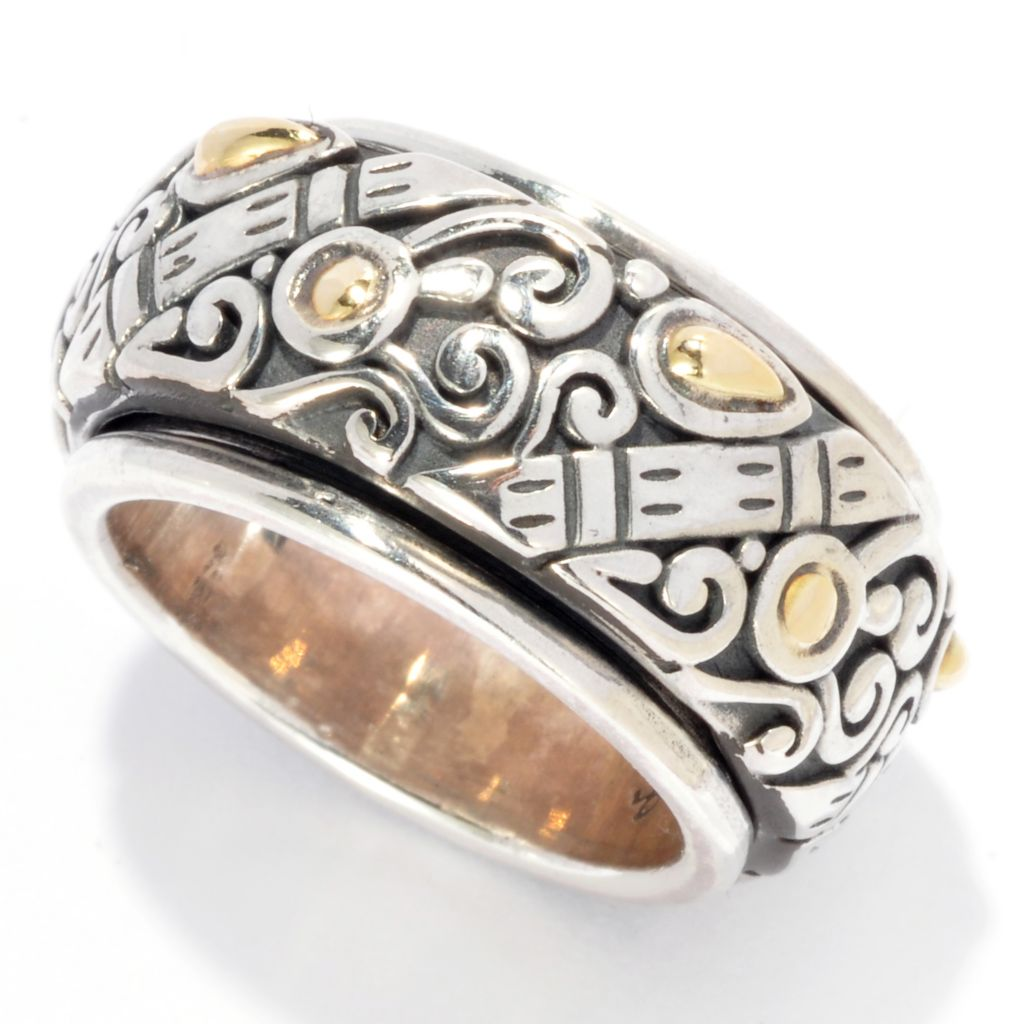 139-045 - Artisan Silver by Samuel B. Two-tone Swirl Design Spinner Band Ring