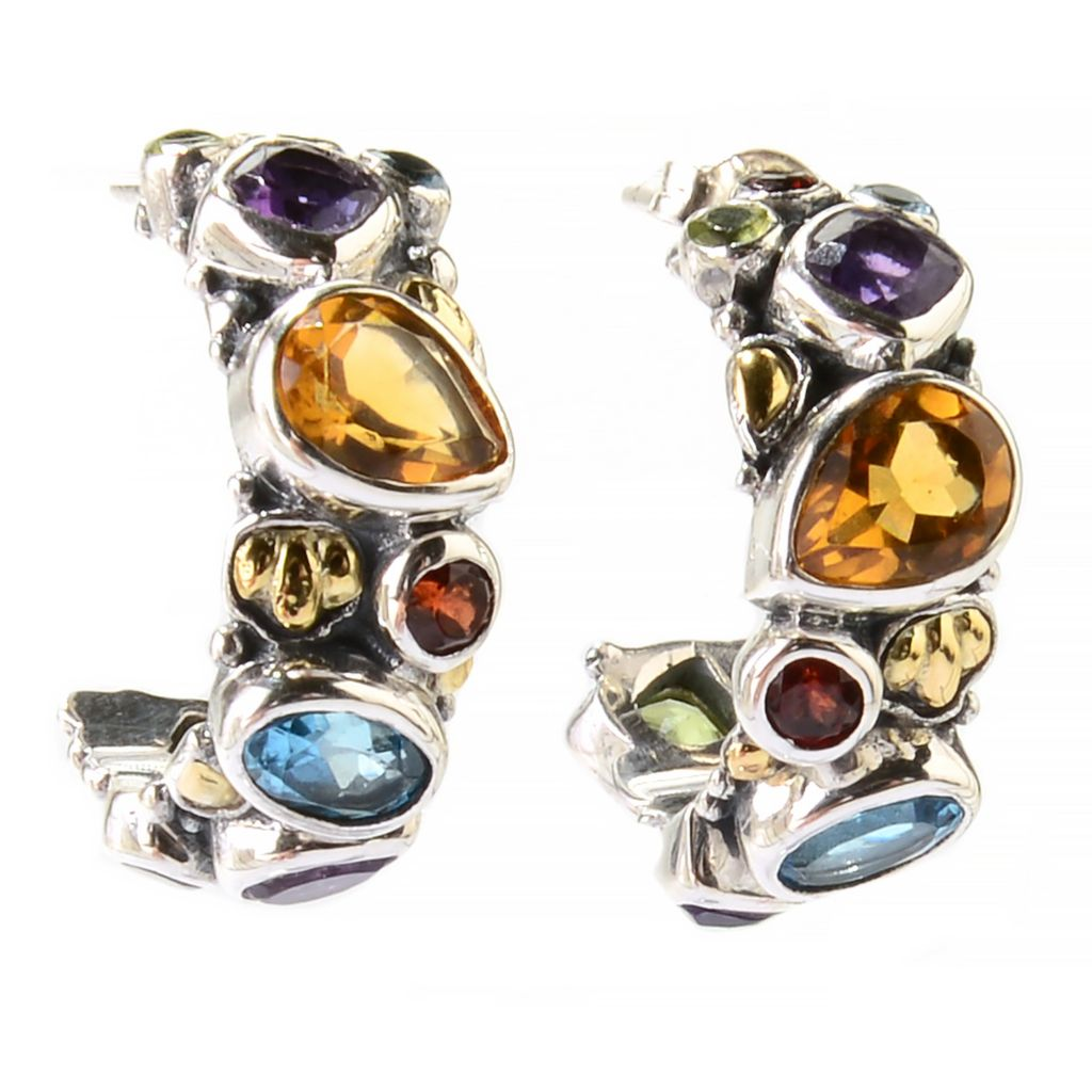 139-047 - Artisan Silver by Samuel B. Two-tone 5.05ctw Multi Gemstone Huggie Hoop Earrings