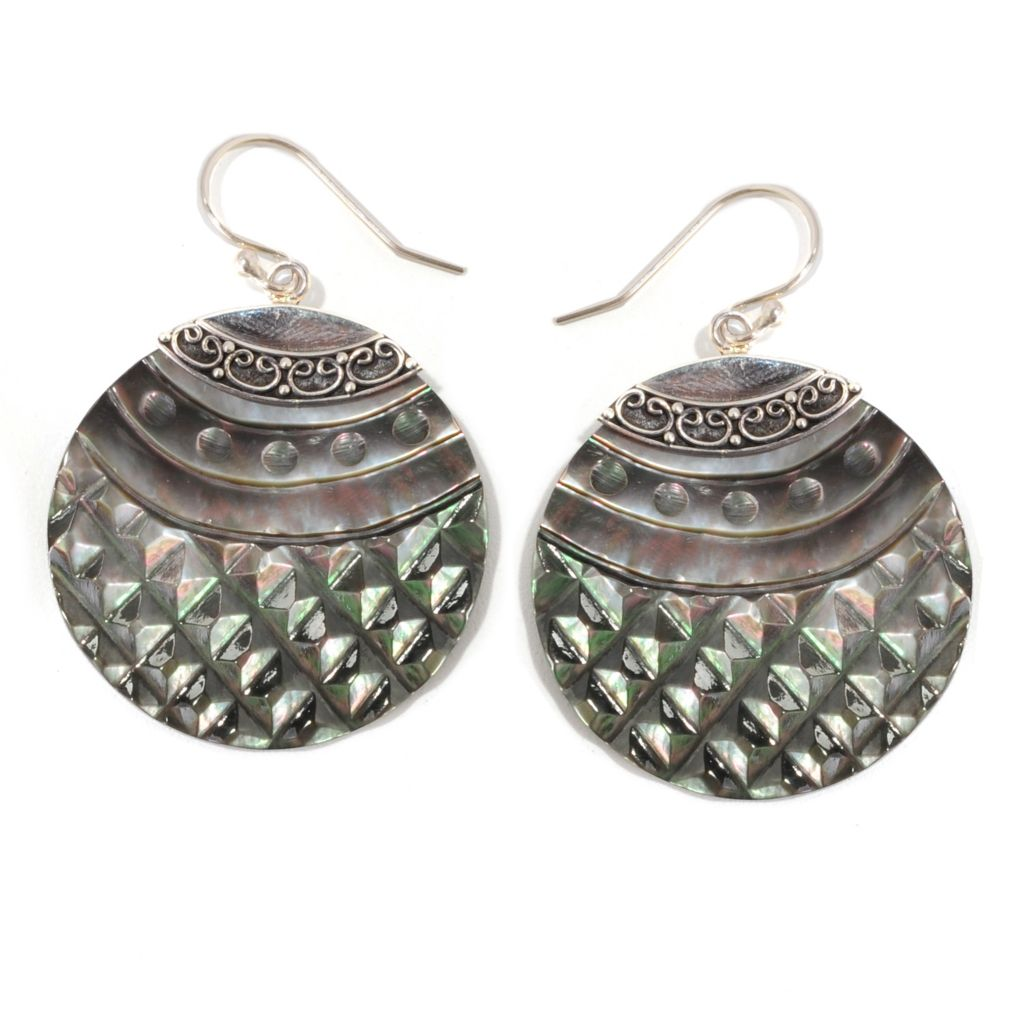 "139-048 - Artisan Silver by Samuel B.1.75"" 30mm Hand-Carved Mother-of-Pearl Drop Earrings"