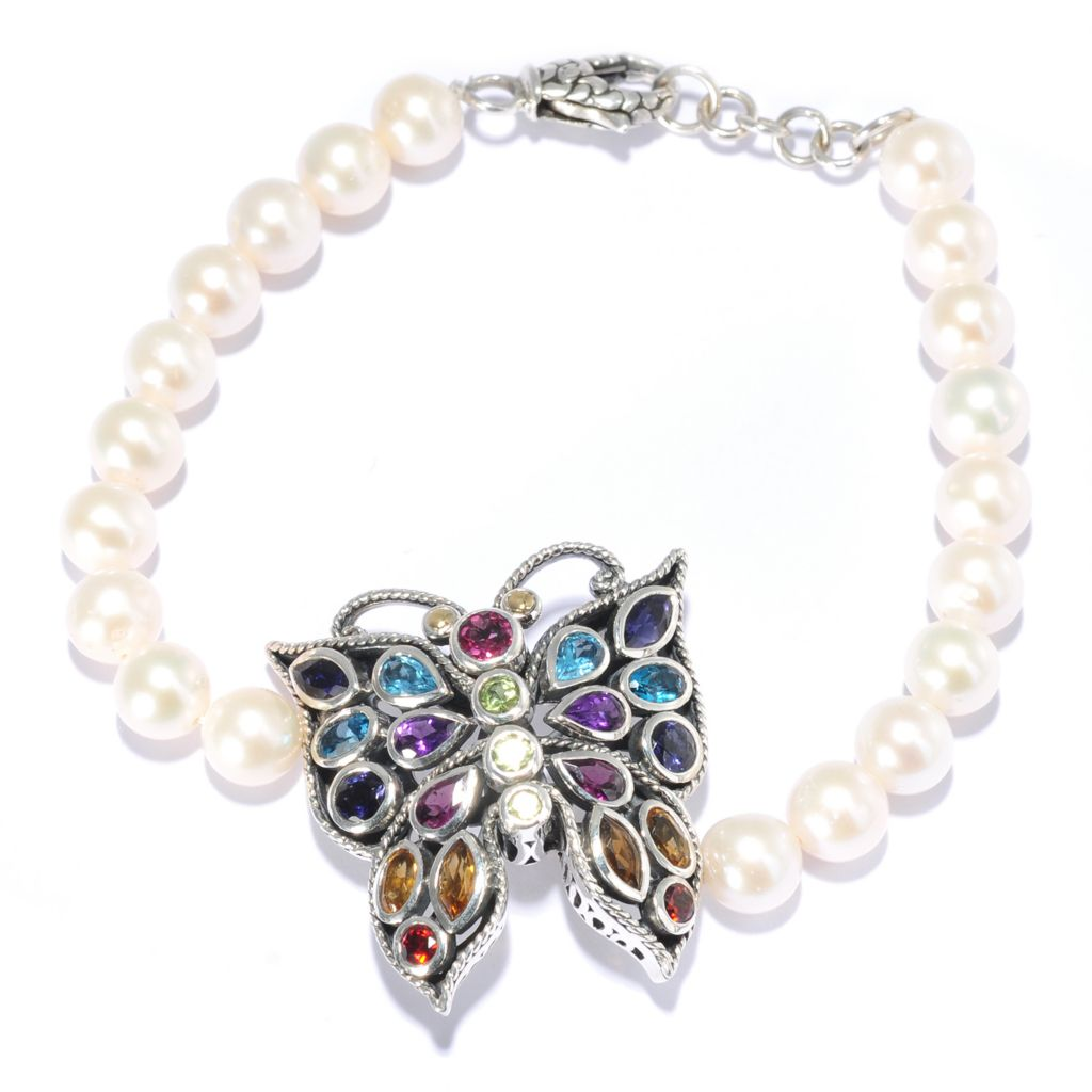 "139-062 - Artisan Silver by Samuel B. 7.75"" 8mm Cultured Pearl & Multi Gemstone Butterfly Bracelet"