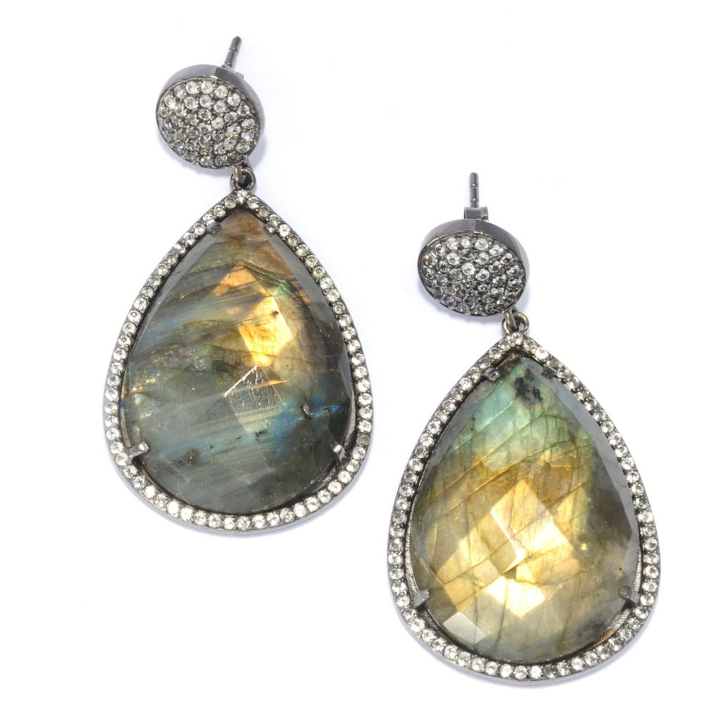 "139-065 - Artisan Silver by Samuel B. 1.75"" Labradorite & White Topaz Drop Earrings"