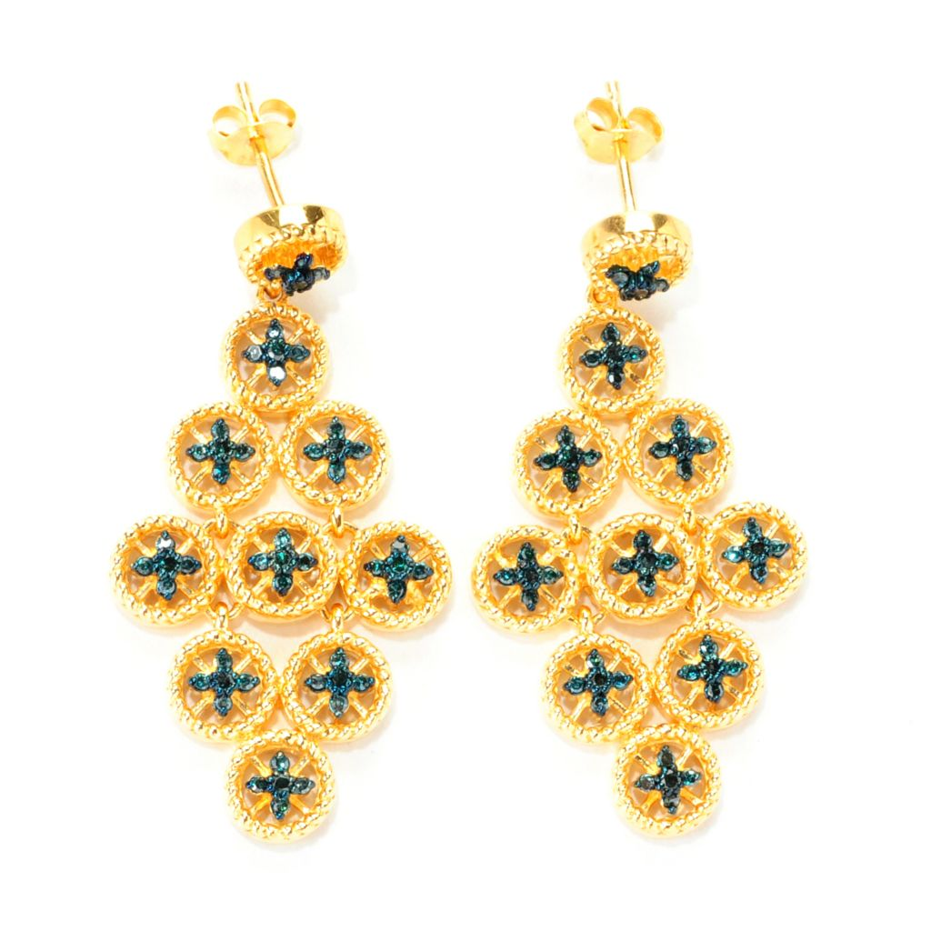 "139-068 - Diamond Treasures 24K Gold Embraced® 1.5"" 0.50ctw Blue Diamond Dangle Earrings"