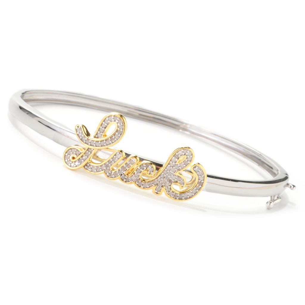 "139-070 - Diamond Treasures 7.25"" 0.47ctw Diamond Inspirational Bangle Bracelet"