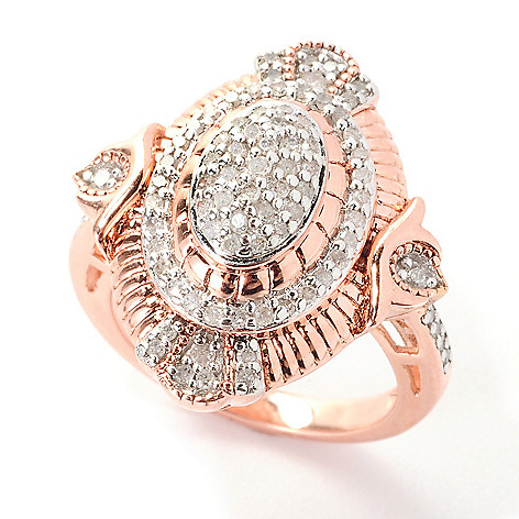 139-071 - Diamond Treasures® 0.49ctw Fancy Color Diamond Multi Level Marquise Ring