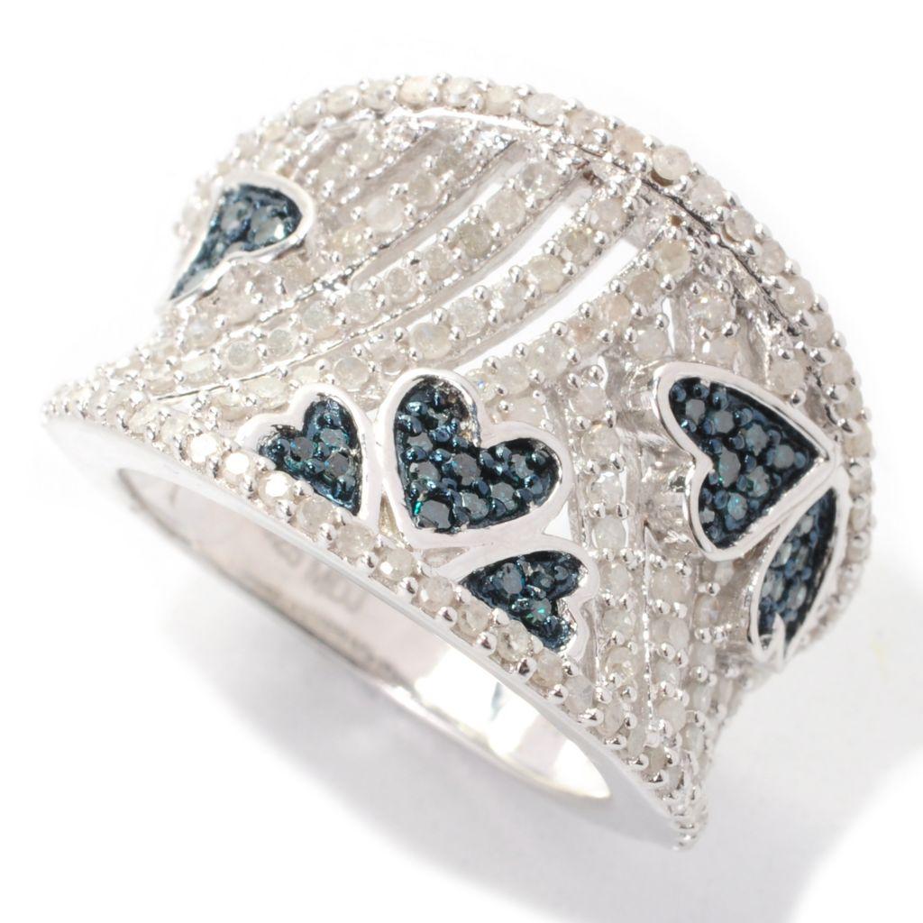 139-073 - Diamond Treasures Sterling Silver 0.96ctw Blue & White Diamond Heart Band Ring