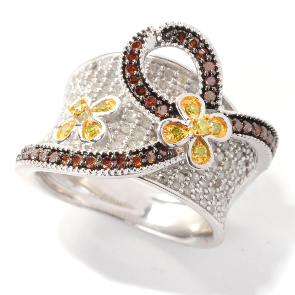 139-074 - Diamond Treasures 1.22ctw Red, White & Yellow Diamond Overlay Wave Ring