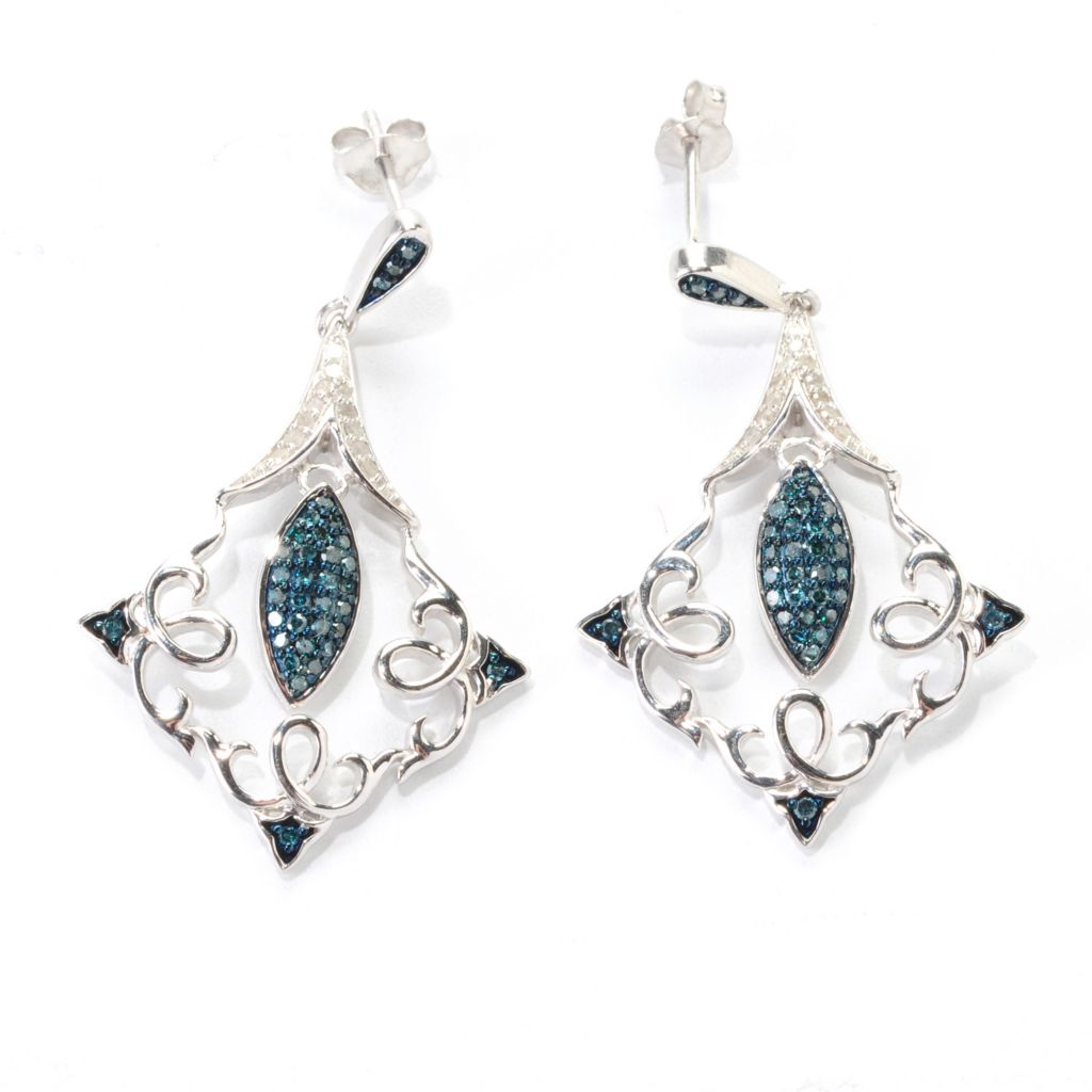 "139-076 - Diamond Treasures Sterling Silver 1.5"" 0.50ctw Blue & White Diamond Kite Drop Earrings"