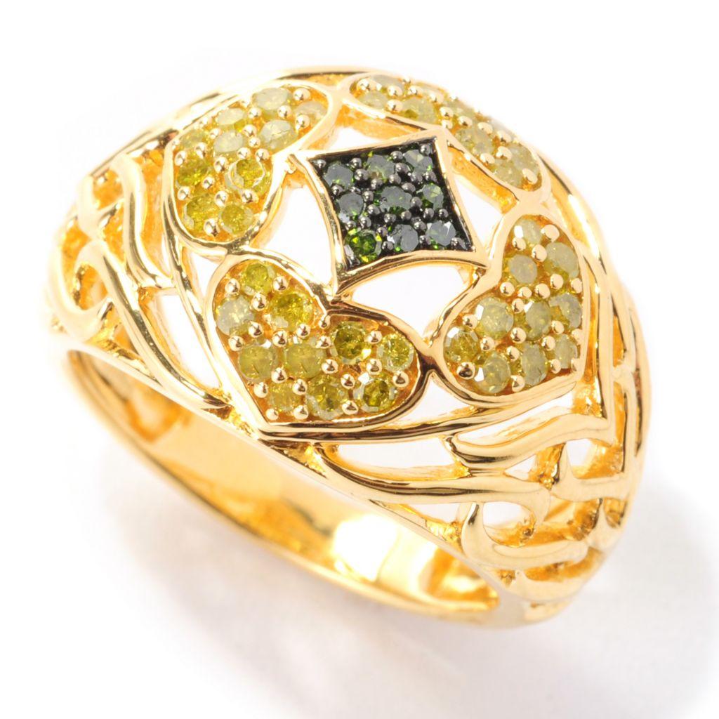 139-077 - Diamond Treasures 24K Gold Embraced™ 0.50ctw Green & Yellow Diamond Openwork Dome Ring