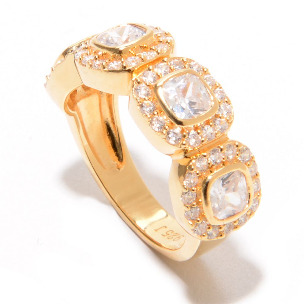 139-084 - Brilliante® 18K Gold Embraced™ 1.96 DEW Square Simulated Diamond Four-Stone Ring