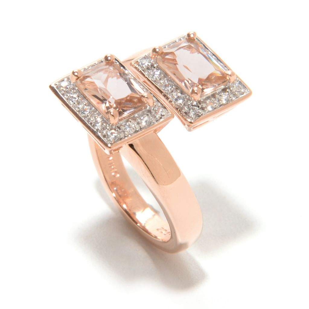 139-085 - Brilliante® 18K Rose Gold Embraced™ Simulated Gemstone Bypass Ring