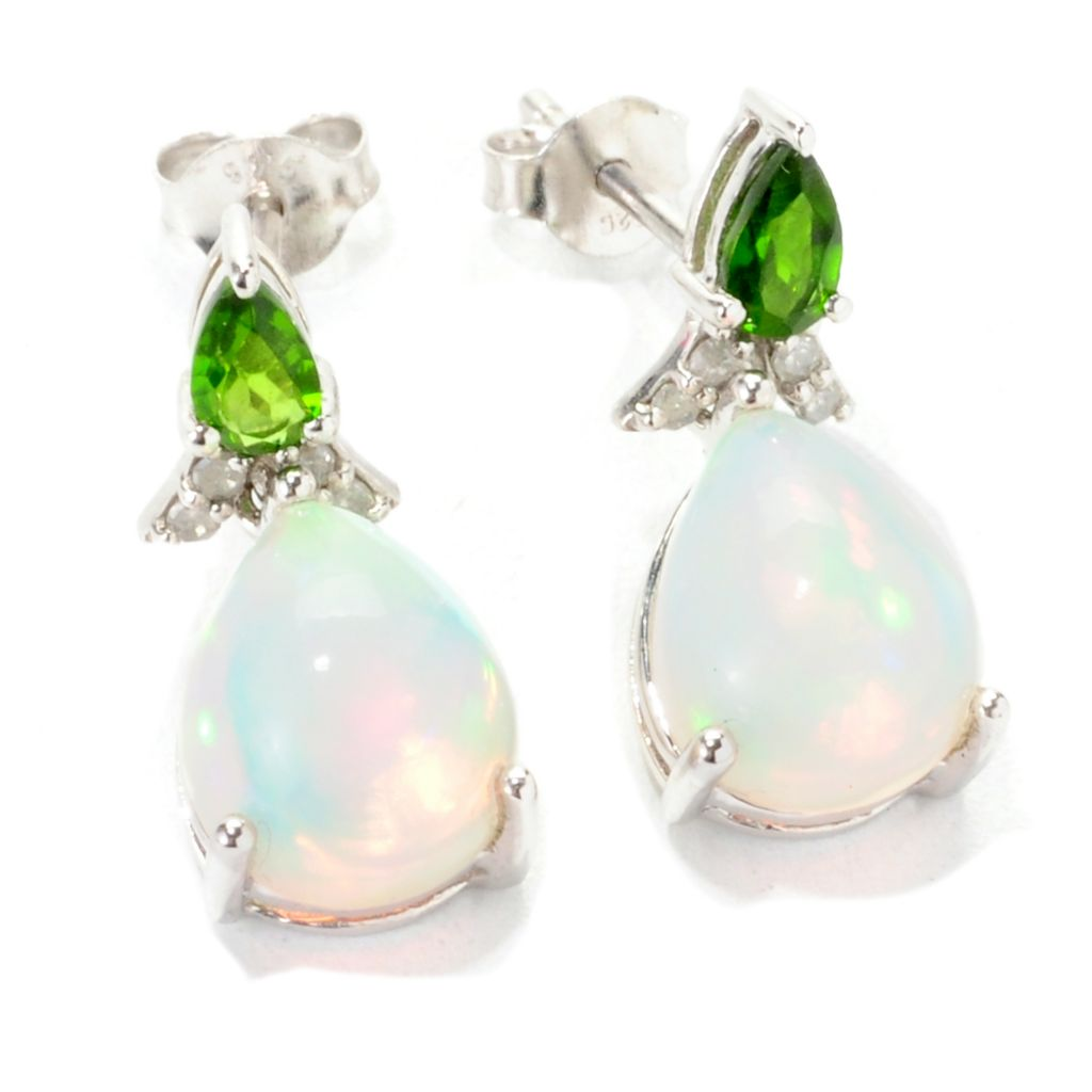 139-089 - Gem Insider Sterling Silver 10 x 8mm Ethiopian Opal & Multi Gem Earrings