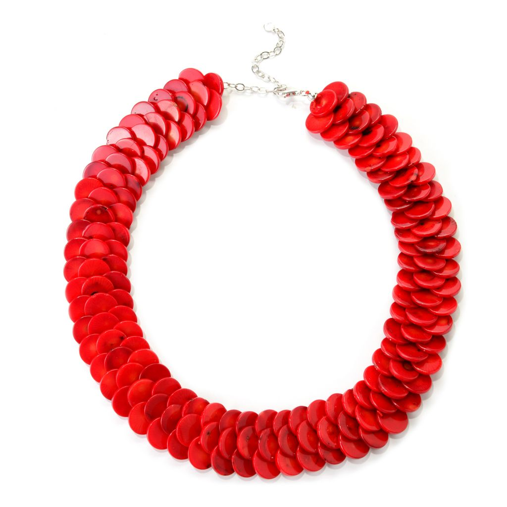 "139-091 - Gem Insider Sterling Silver 18"" Red Coral Disk Three-Row Bib Necklace"
