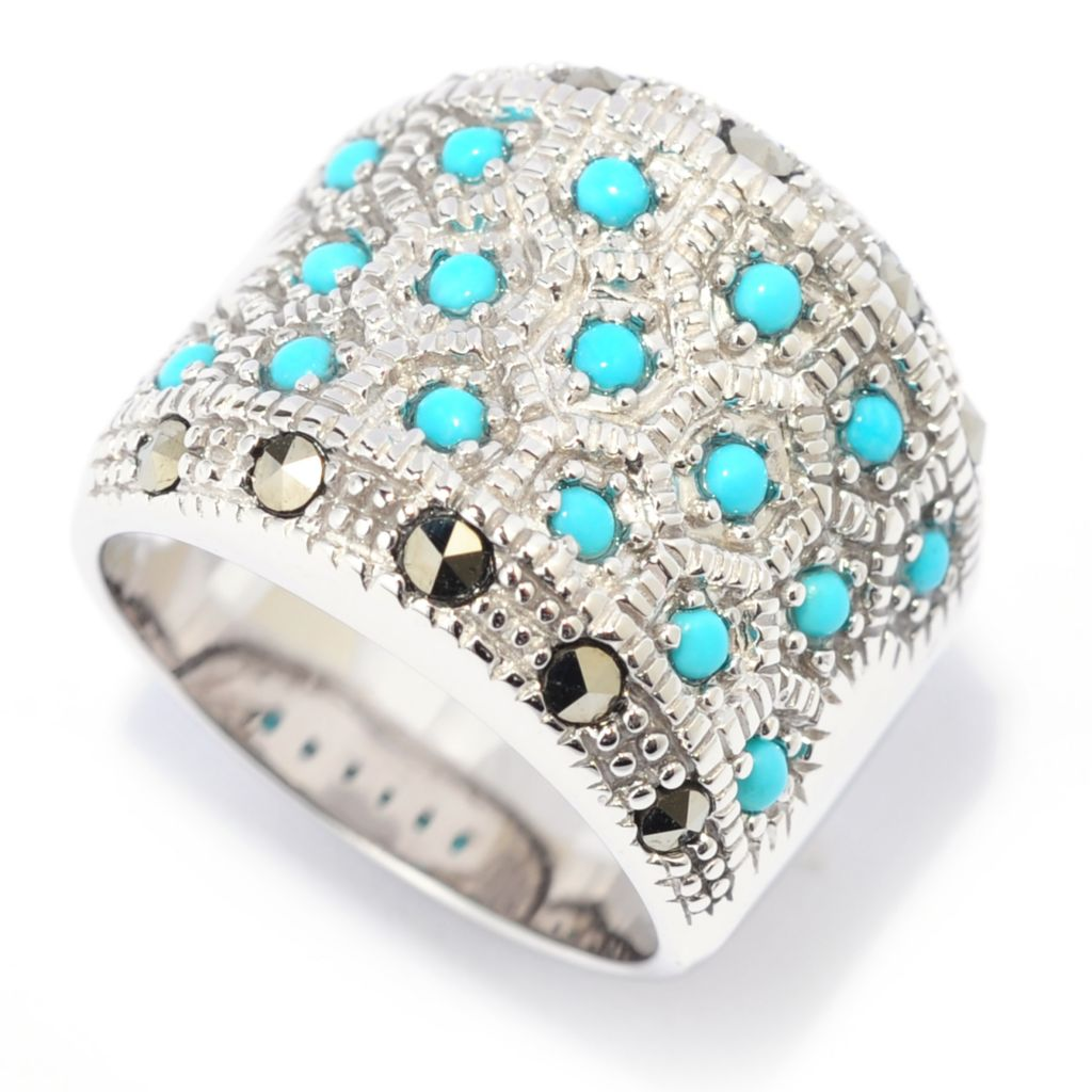 139-092 - Gem Insider Sterling Silver Round Turquoise & Marcasite Textured Wide Band Ring