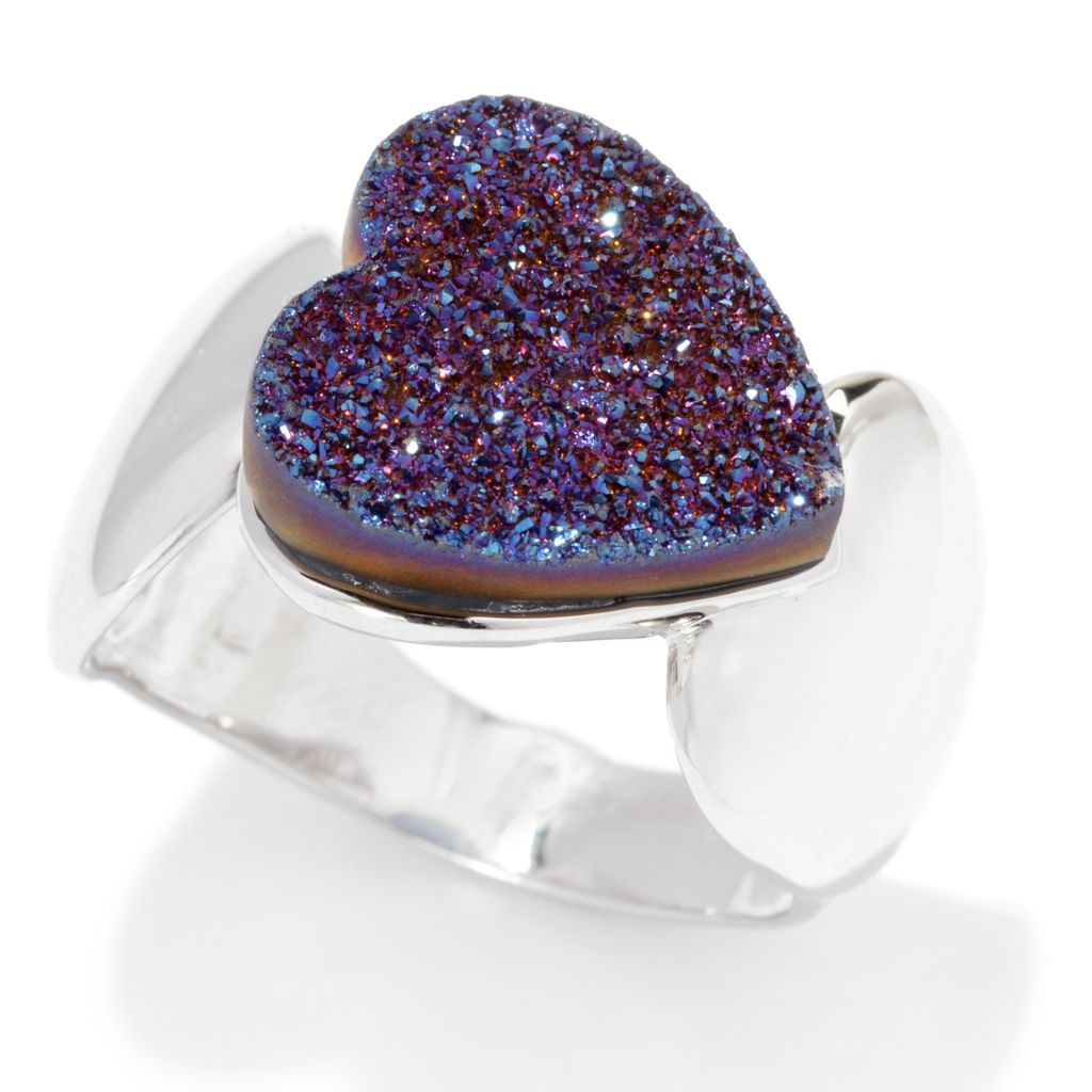 139-095 - Gem Insider Sterling Silver 12mm Purple Drusy East-West Heart Ring