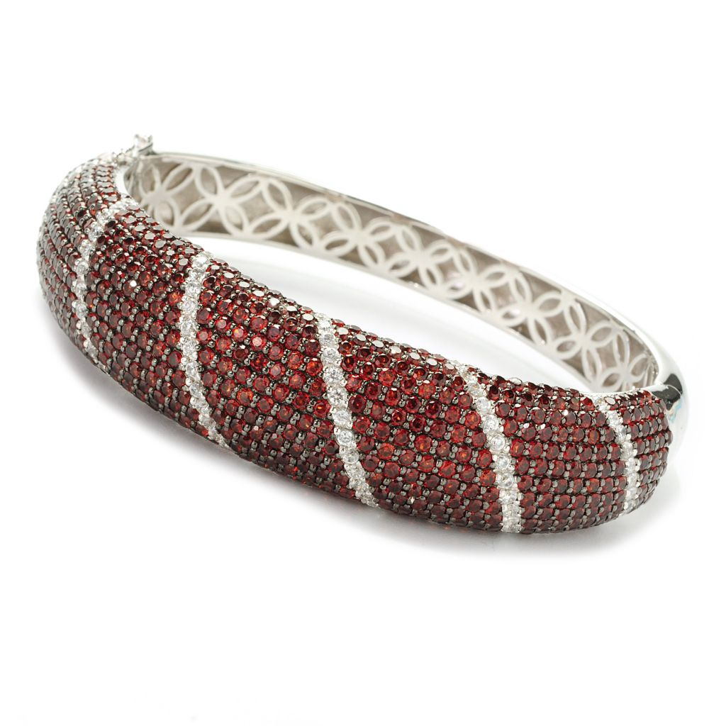 139-097 - Gem Treasures Sterling Silver 18.03ctw Garnet & White Zircon Bangle Bracelet