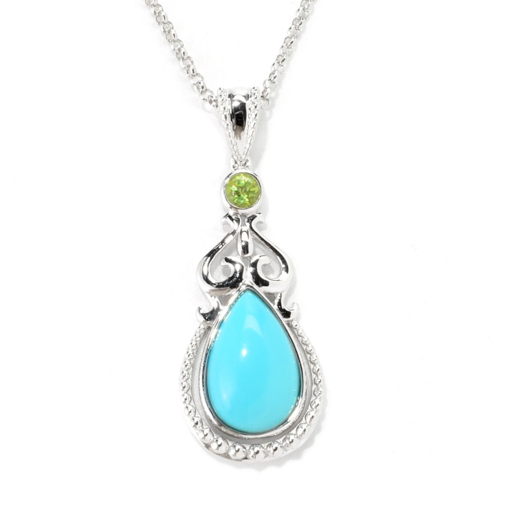 139-098 - Gem Insider Sterling Silver Sleeping Beauty Turquoise & Peridot Pendant