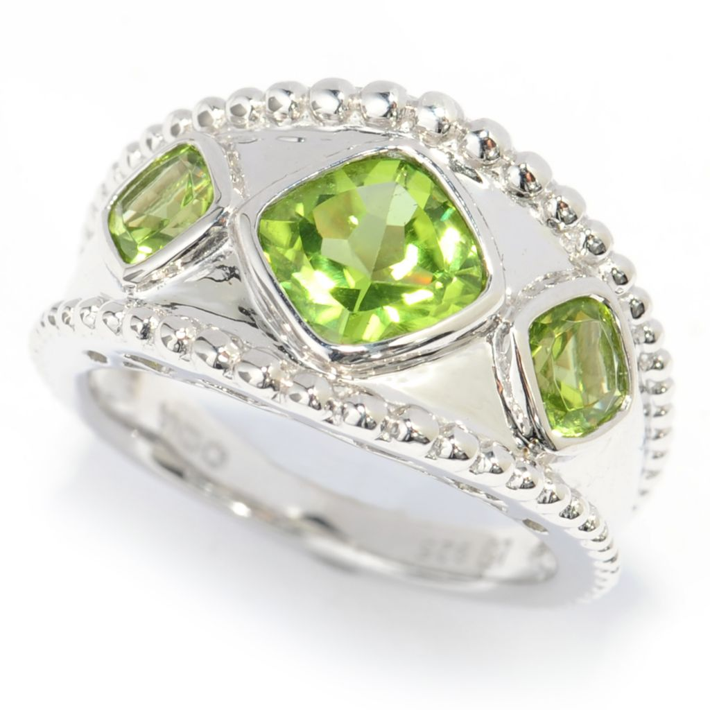 139-101 - Gem Insider Sterling Silver 2.30ctw Peridot Three-Stone Band Ring
