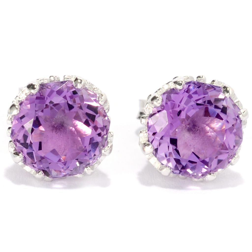 139-102 - Gem Insider Sterling Silver 8mm Round 100-Facet Gemstone Stud Earrings