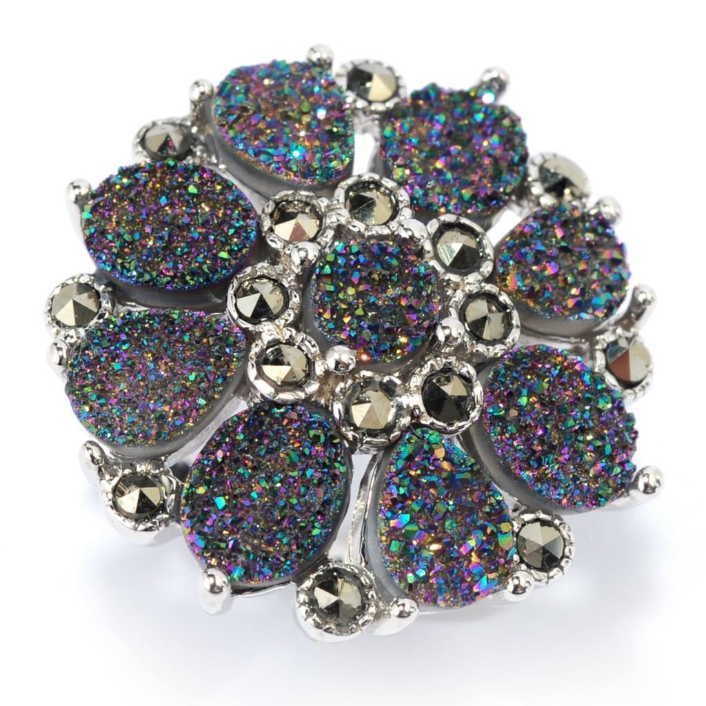 139-107 - Gem Insider Sterling Silver Rainbow Drusy & Marcasite Flower Ring