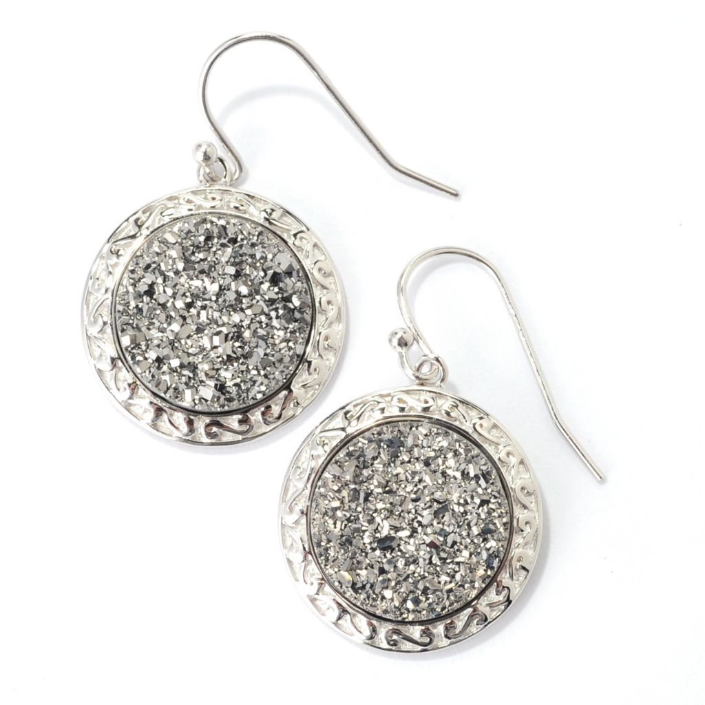 "139-109 - Gem Insider Sterling Silver 1.25"" 14.5mm Silver Drusy Circle Earrings"