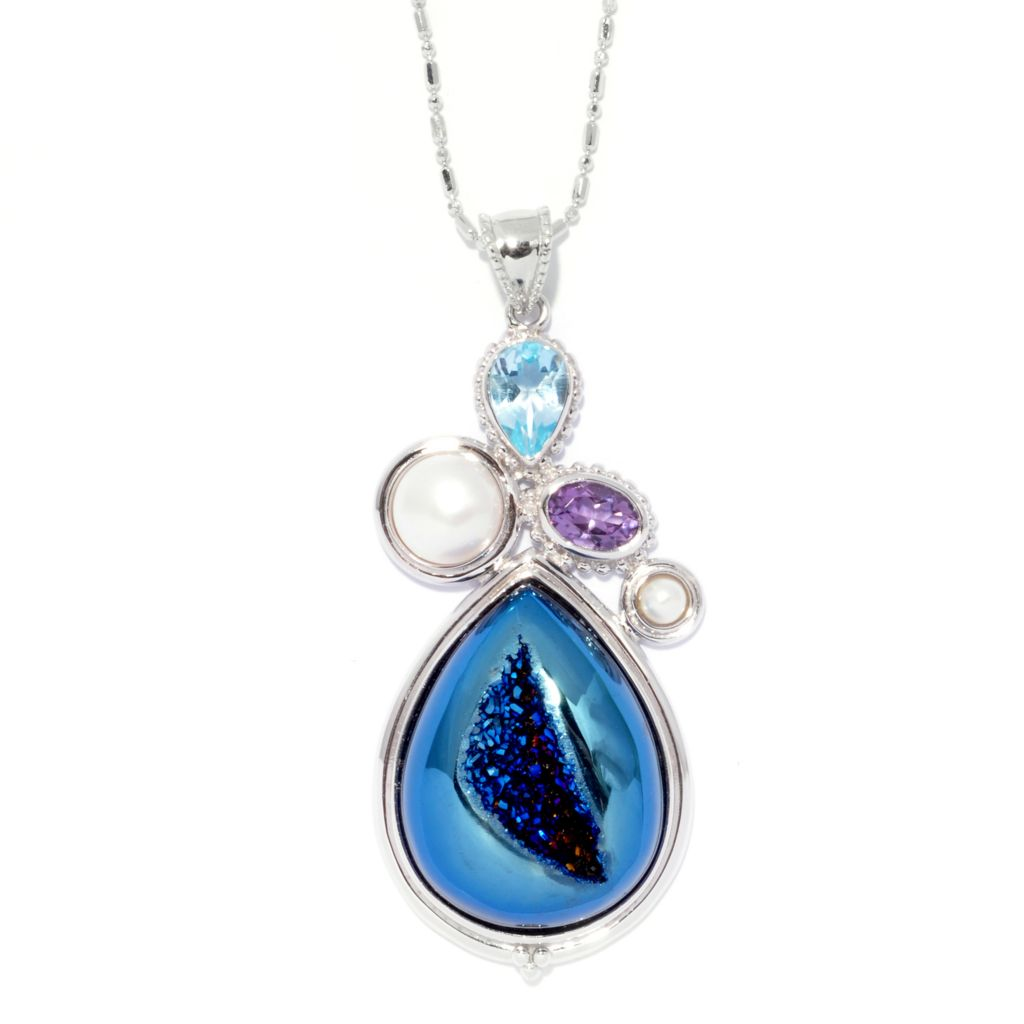 139-111 - Gem Insider Sterling Silver 27 x 20mm Teardrop Blue Drusy & Multi Gem Pendant