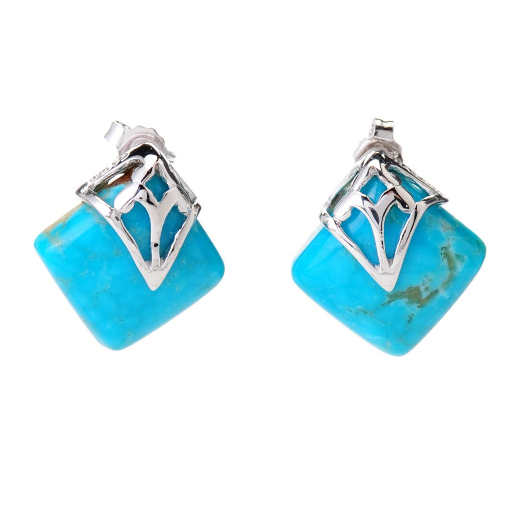 139-117 - Gem Insider Sterling Silver Kingman Turquoise Diamond Shaped Stud Earrings