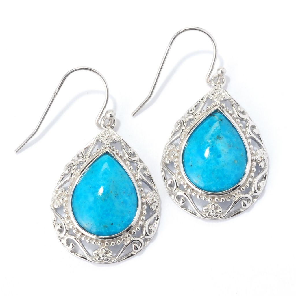 "139-118 - Gem Insider Sterling Silver 1.5"" 15 x 12mm Kingman Turquoise Teardrop Earrings"