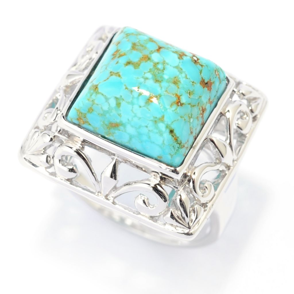 139-119 - Gem Insider Sterling Silver 12mm #8 Turquoise Scrollwork Square Frame Ring