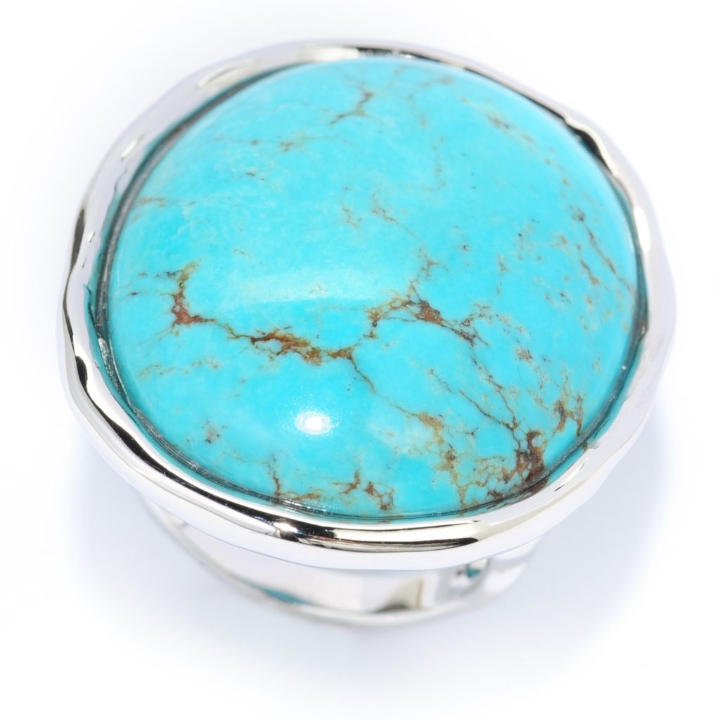 139-120 - Gem Insider Sterling Silver 30 x 24mm Oval Turquoise Hammered Ring
