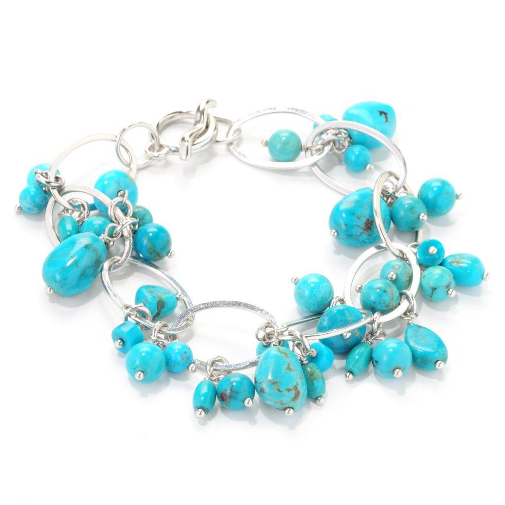 """139-121 - Gem Insider Sterling Silver 7.5"""" Turquoise Charm Cluster Toggle Bracelet"""