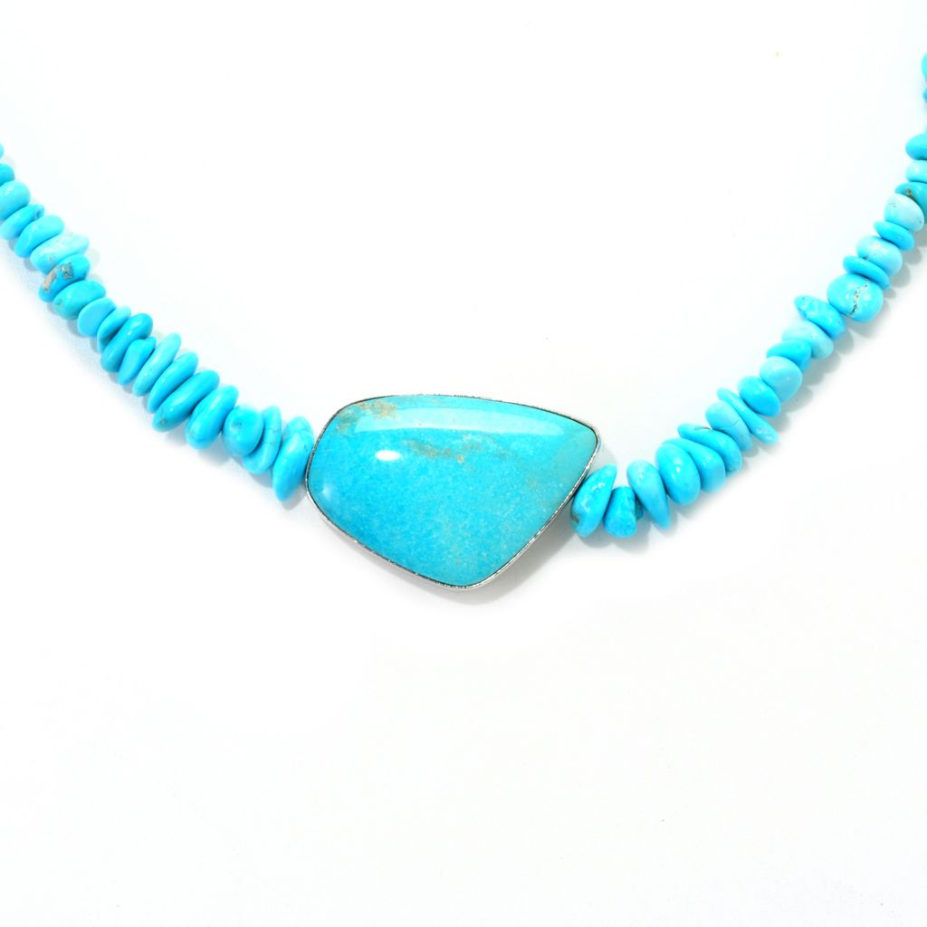 "139-124 - Gem Insider Sterling Silver 18"" 30 x 22mm Freeform Turquoise Bead Necklace"