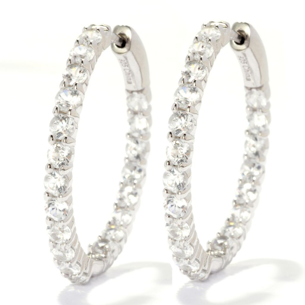 "139-125 - Gem Treasures Sterling Silver 1.25"" 4.80ctw White Zircon Hoop Earrings"