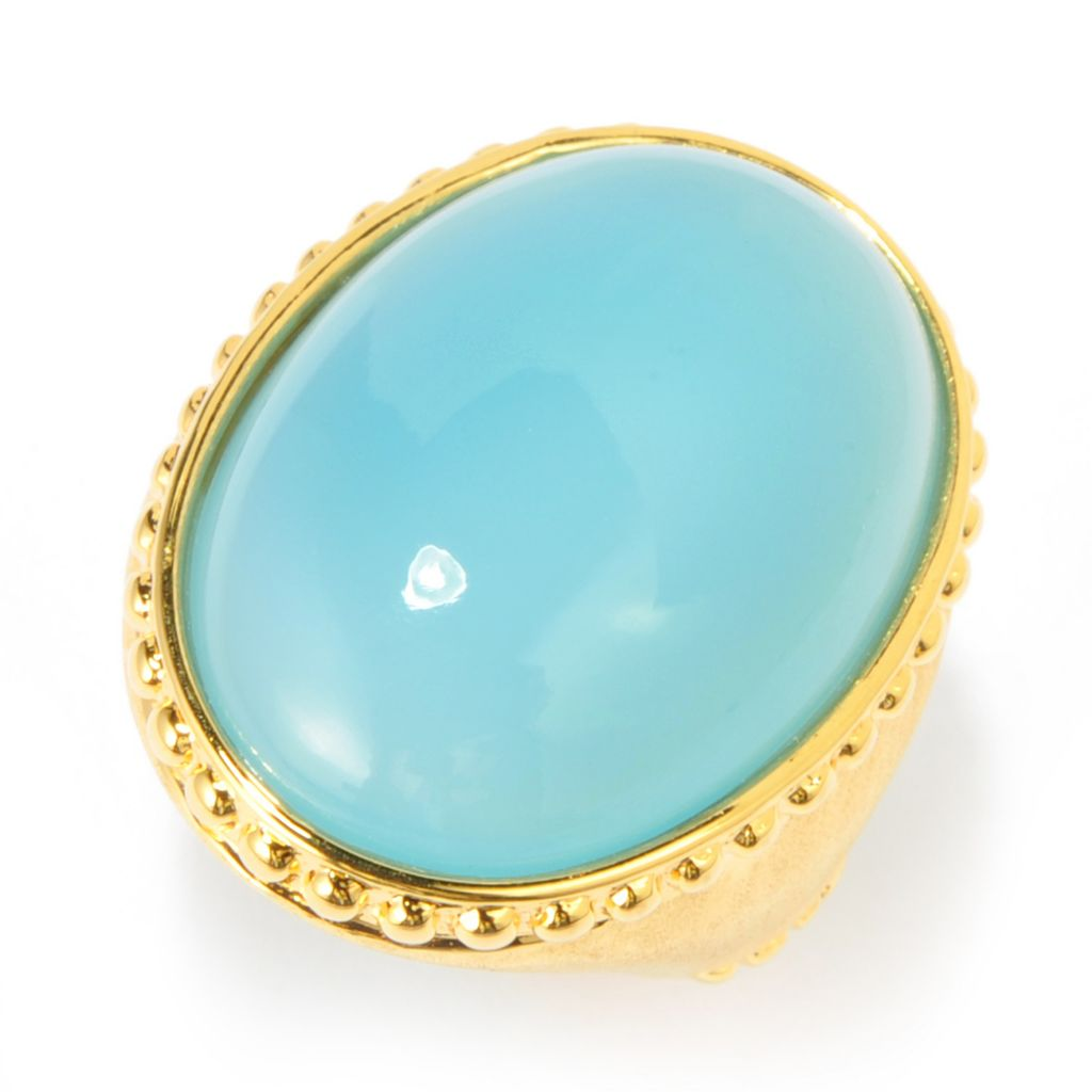139-126 - Toscana Italiana 18K Gold Embraced™ 24 x 18mm Oval Blue Chalcedony Brushed Shank Ring