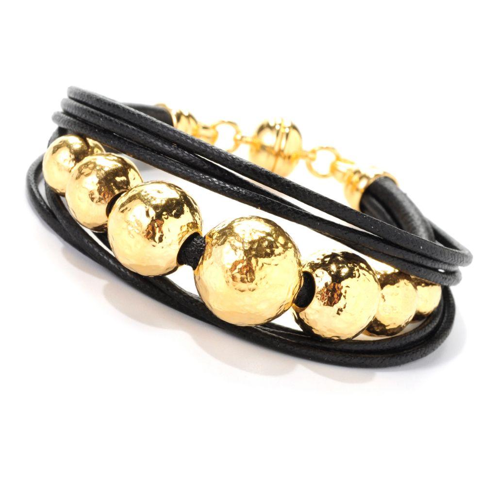 "139-128 - Toscana Italiana 18K Gold Embraced™ 7.75"" Bead & Cord Bracelet w/ Magnetic Clasp"