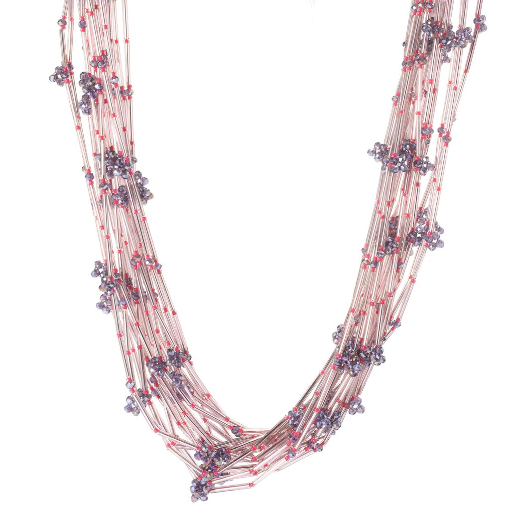 "139-134 - RUSH 23"" Glass Bead Multi Strand Layered Necklace w/ 3"" Extender"