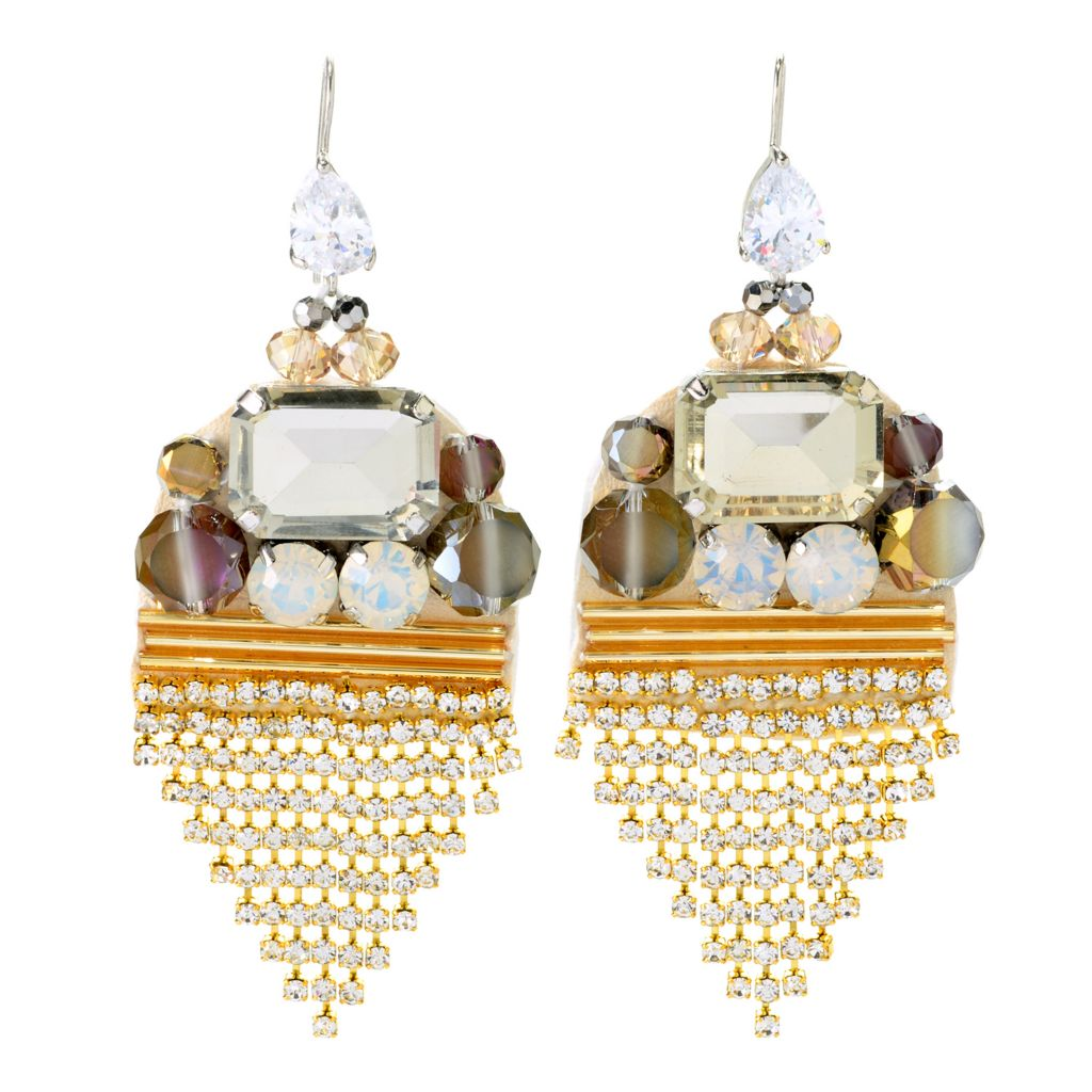 "139-138 - RUSH 3.25"" Crystal & Glass Bead Art Deco-Style Drop Earrings"