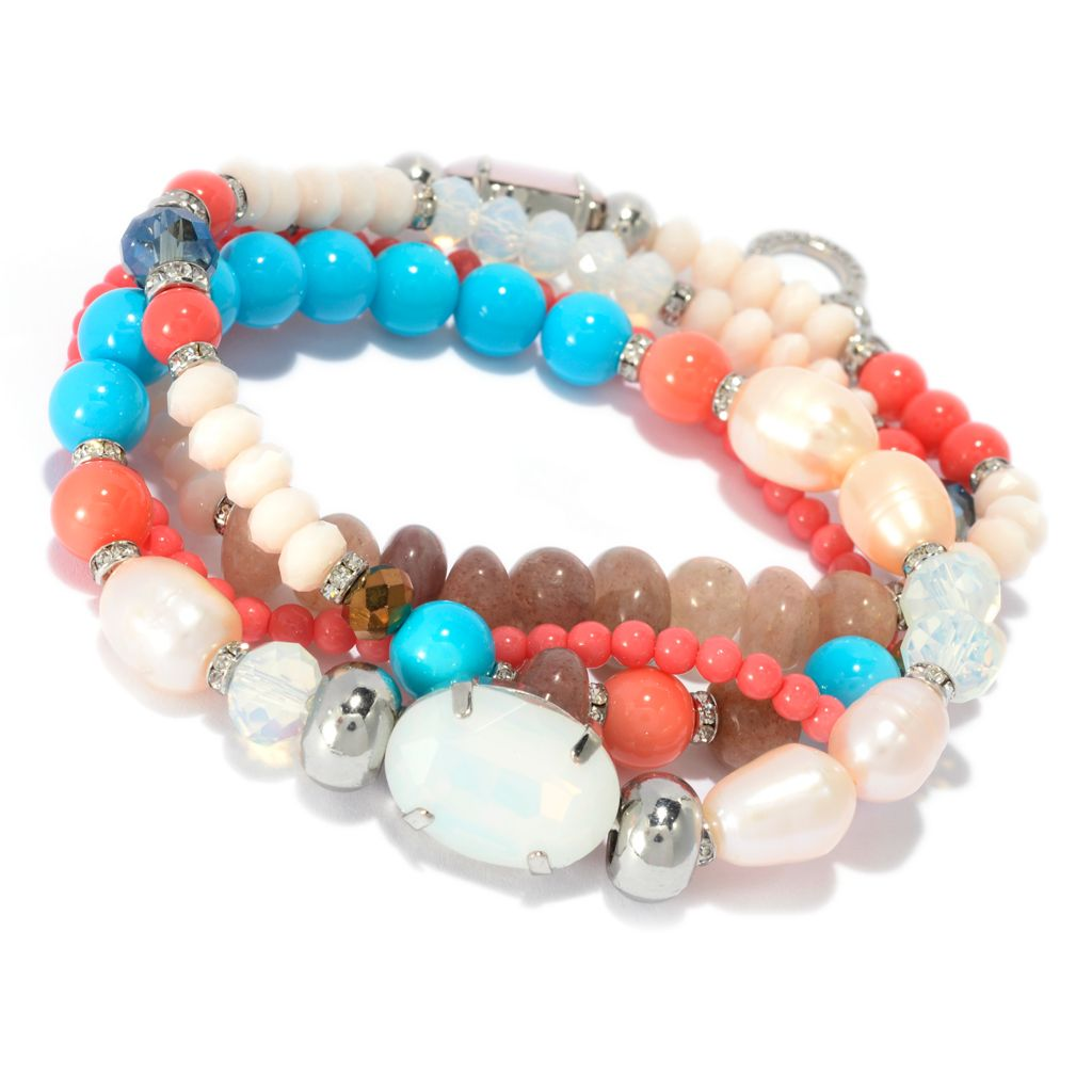 139-139 - RUSH Set of Four Crystal Bead & Multi Gem Interlocking Stretch Bracelets
