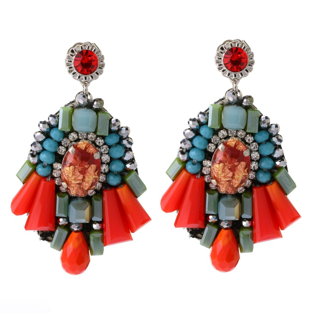 "139-140 - RUSH 2.25"" Resin & Glass Bead Fan Shaped Drop Earrings"