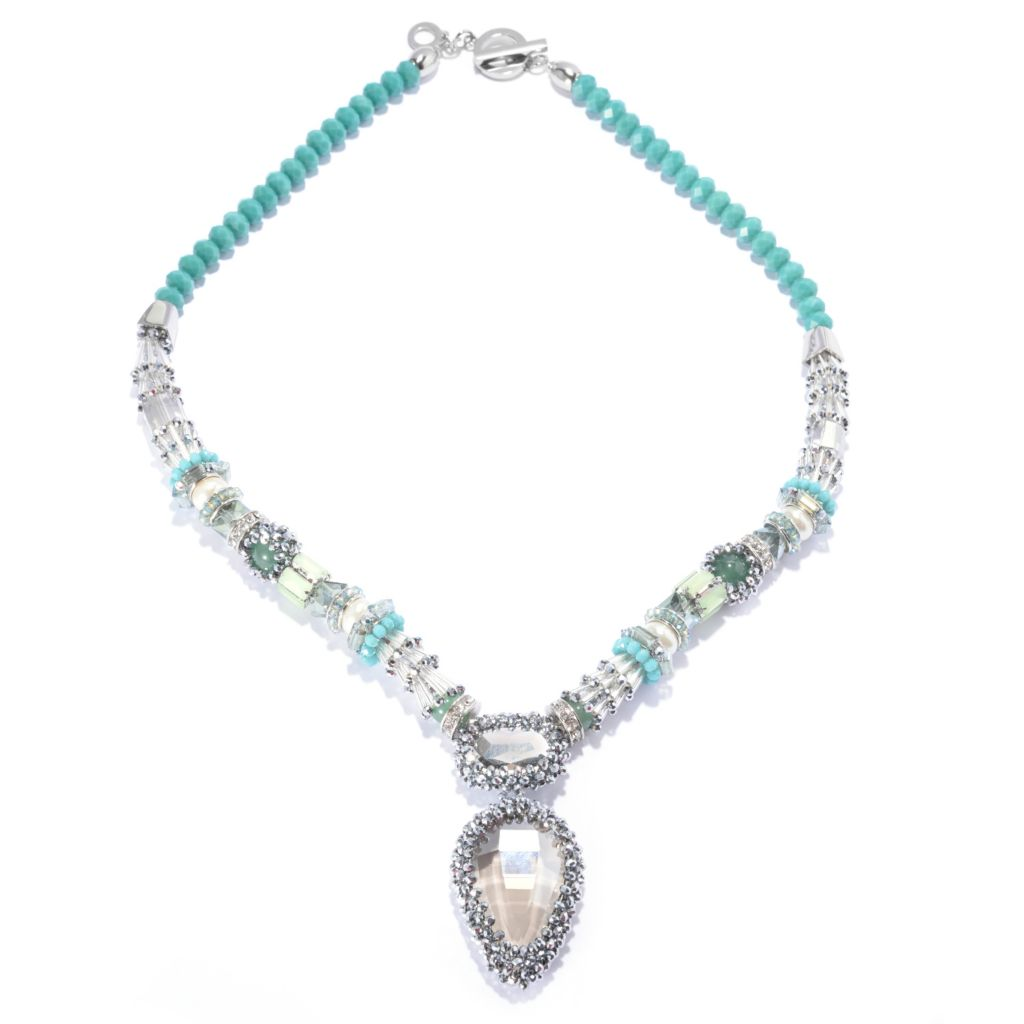 "139-146 - RUSH 28.5"" Crystal, Glass & Simulated Pearl Teardrop Toggle Necklace"