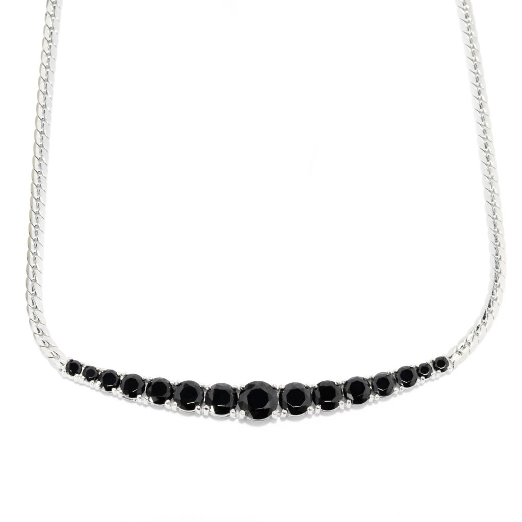 "139-149 - Gem Treasures Sterling Silver 16"", 18"" or 20"" Black Spinel 15-Stone Necklace"
