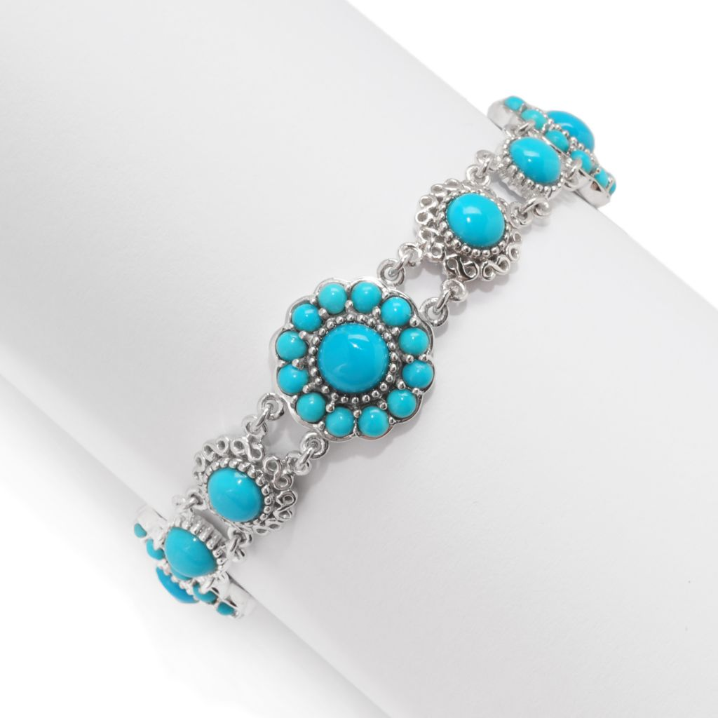 139-150 - Gem Insider Sterling Silver Sleeping Beauty Turquoise Desert Flower Bracelet