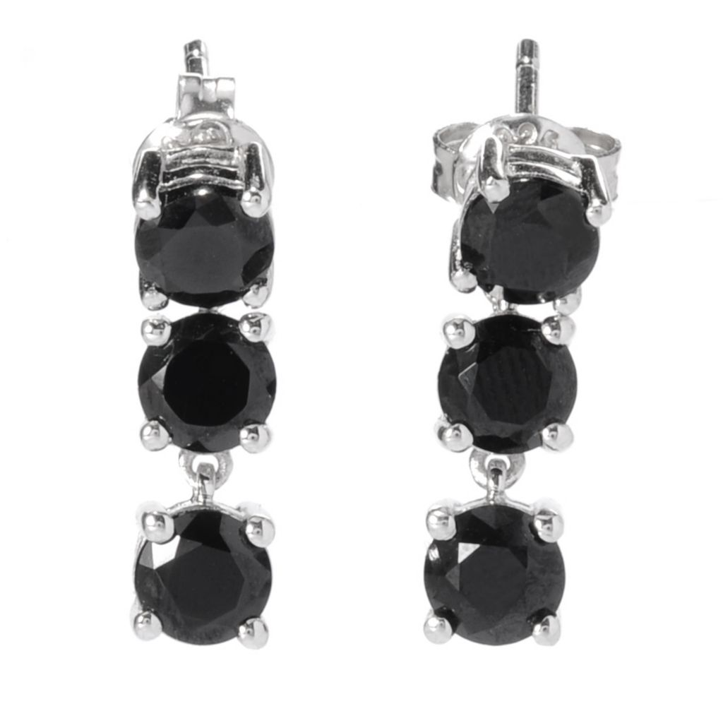 139-151 - Gem Treasures Sterling Silver 2.53ctw Round Black Spinel Trio Drop Earrings