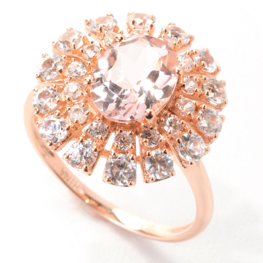 139-152 - Gem Treasures 14K Rose Gold 3.57ctw Morganite & White Zircon Sunburst Halo Ring