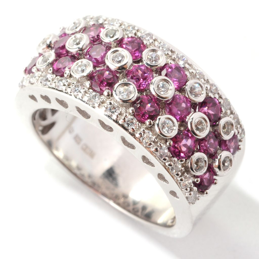 139-154 - Gem Treasures Sterling Silver 1.97ctw Rhodolite & White Zircon Wide Band Ring