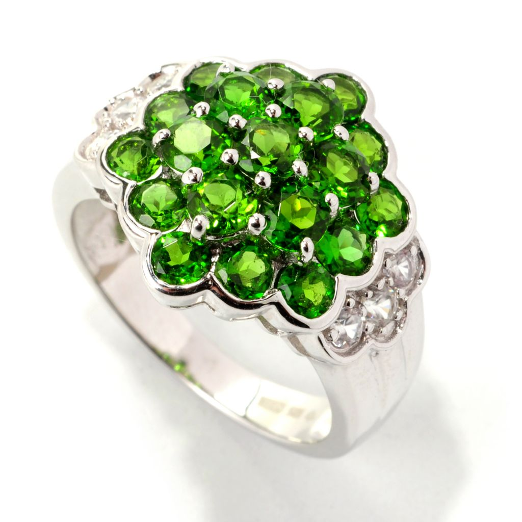 139-155 - Gem Treasures Sterling Silver 3.02ctw Round Chrome Diopside & White Zircon Ring