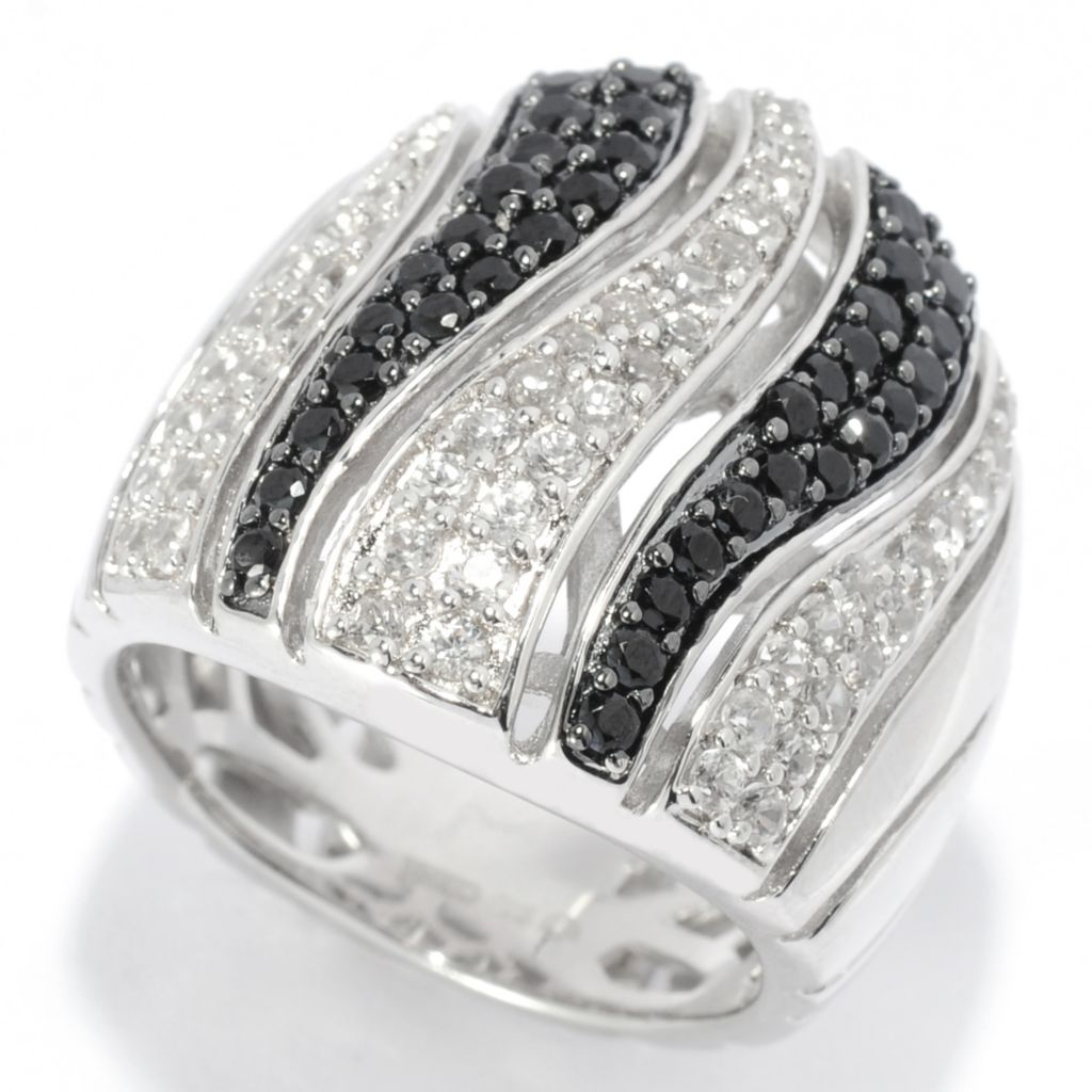 139-157 - Gem Treasures Sterling Silver 1.98ctw Black Spinel & White Zircon Wave Ring