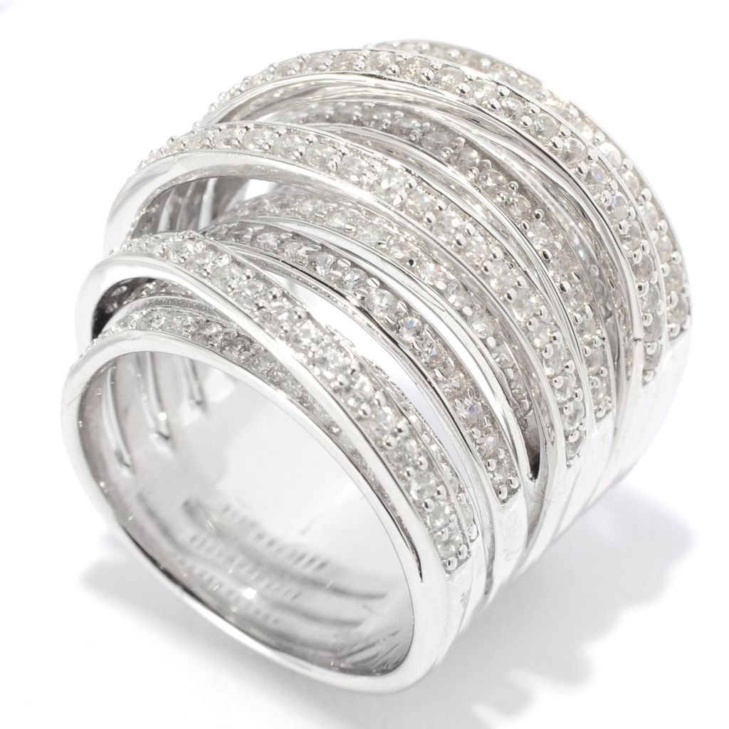 139-160 - Gem Treasures Sterling Silver 2.97ctw White Zircon Intertwined Wide Band Ring