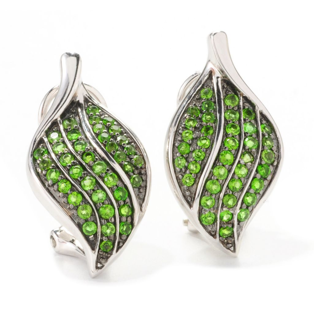 139-162 - Gem Treasures Sterling Silver 1.16ctw Chrome Diopside Leaf Earrings w/ Omega Clasps