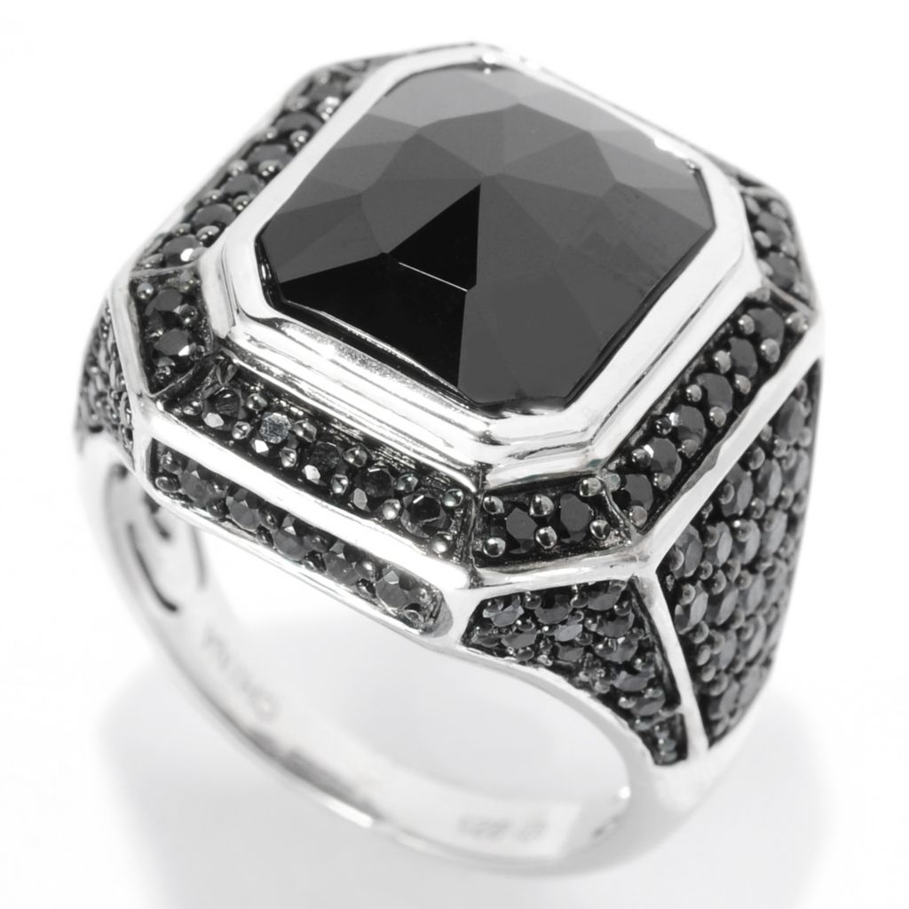 139-163 - Gem Treasures Sterling Silver 12 x 10mm Black Spinel Geometric Ring